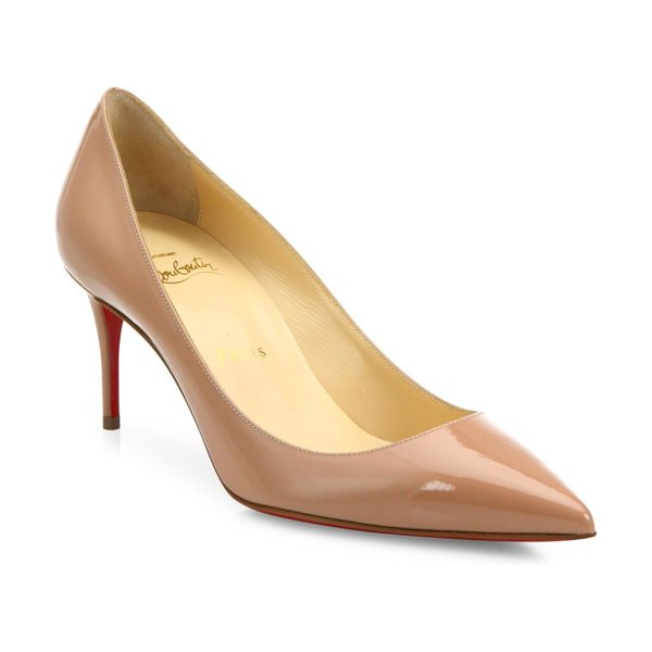 CHRISTIAN LOUBOUTIN decollete patent leather pumps - Polished patent point-toe pump set on low, slim heel....
