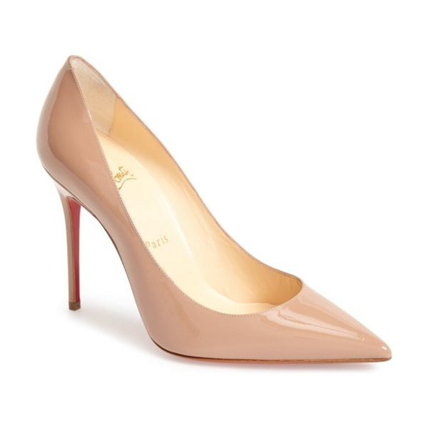 Christian Louboutin 'decollete' pointy toe pump in beige - Strong, sleek and sophisticated, a liquid-shine...
