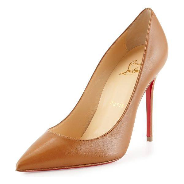 "Christian Louboutin Decollette Leather 100mm Red Sole Pump in noisette - Christian Louboutin matte kidskin pump. 4"" covered..."