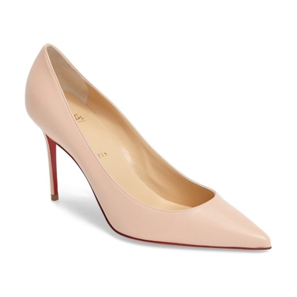 Christian Louboutin decollette pump in poudre leather - A low plunging topline and a daring decollete toe set a...
