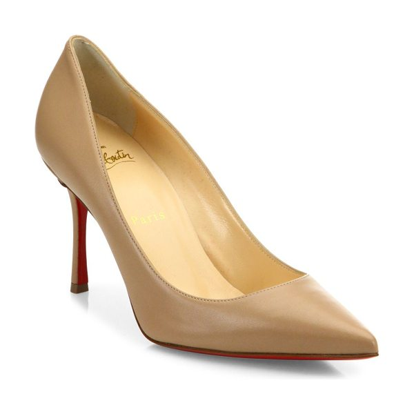 Christian Louboutin decoltish 85 leather point toe pumps in nude - Polished leather point-toe pump exudes timeless appeal....
