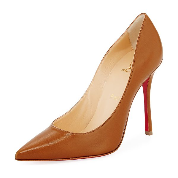 "Christian Louboutin Decoltish Point-Toe Red Sole Pumps in safari - Christian Louboutin pump in napa leather. 4"" covered..."
