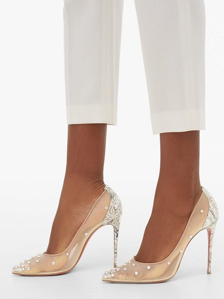 Christian Louboutin degra 100 crystal-embellished mesh pumps in nude