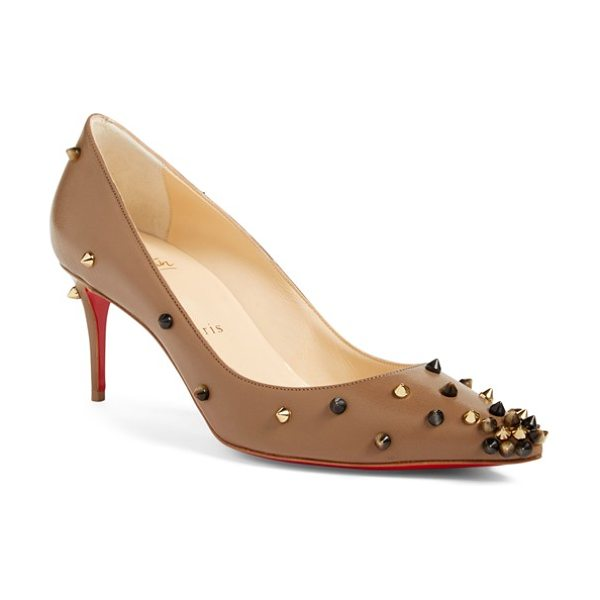 Christian Louboutin degraspike studded pointy toe pump in taupe/ popcorn leather - A cluster of sharp spikes in varying shades of burnished...
