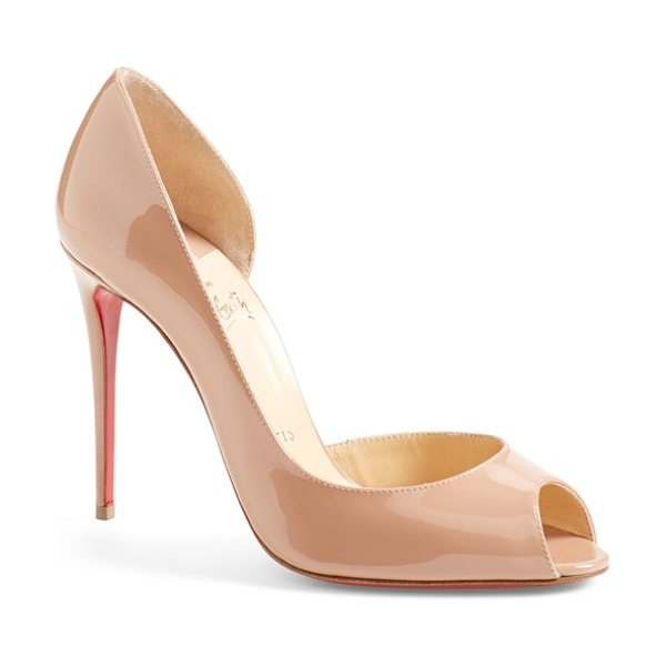 Christian Louboutin demi half d'orsay peep toe pump in nude patent - A gracefully curved half-d'Orsay pump with an alluring...