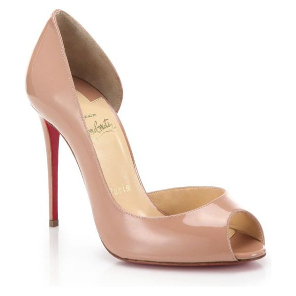 CHRISTIAN LOUBOUTIN demi you patent leather peep-toe pumps in nude - Subtly sexy in its half d'Orsay silhouette, this patent...