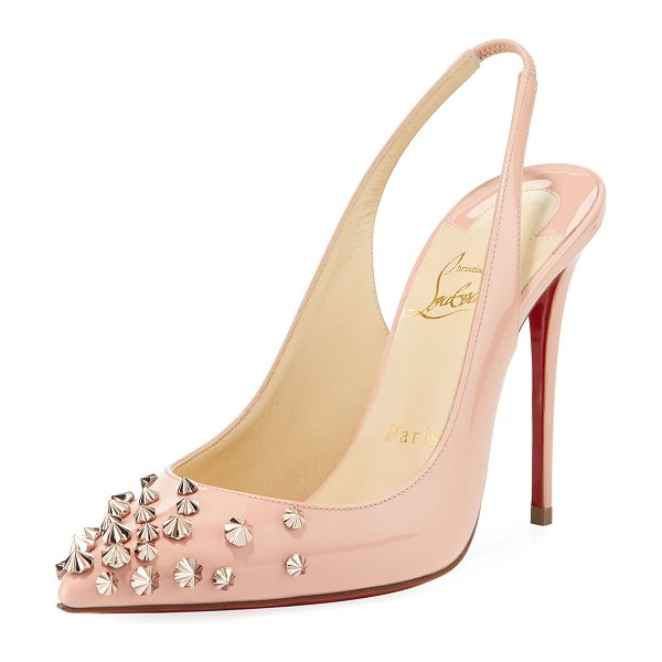 "CHRISTIAN LOUBOUTIN Drama Sling 100mm Spike Leather Red Sole Pumps in soie/pink bronze - Christian Louboutin ""Drama Sling"" pump in calf leather..."