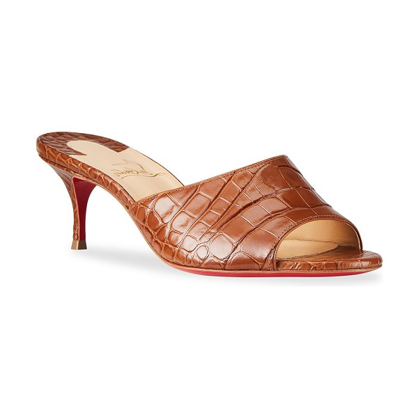 Christian Louboutin East Mock-Croc Red Sole Slide Sandals in biscotto