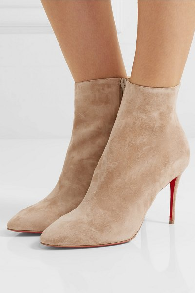 Christian Louboutin eloise 85 suede ankle boots in beige