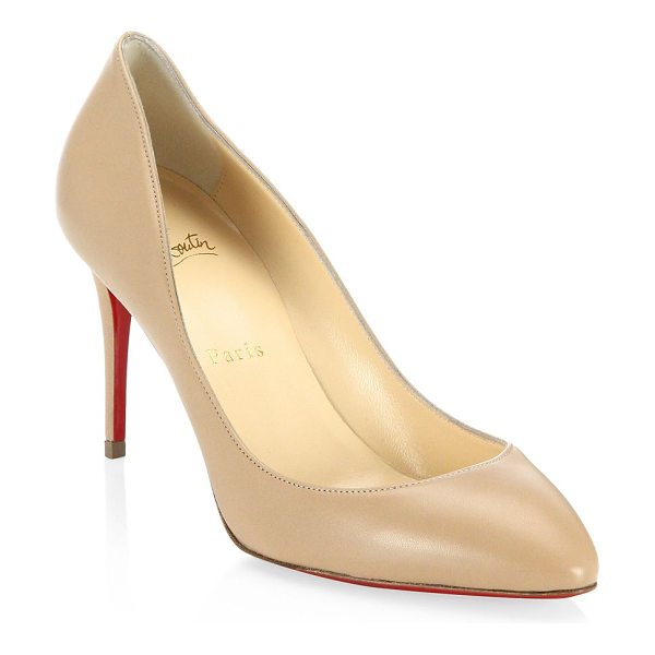 Christian Louboutin eloise 85 leather pumps in nude - Point toe pumps designed in luxe leather. Self-covered...