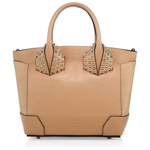 Christian Louboutin eloise small studded leather tote in nude - Structured leather tote with signature spiked studs....