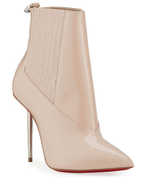 Christian Louboutin Epic 100mm Patent Red Sole Stiletto Booties in beige