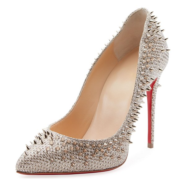 Christian Louboutin Escarpic 100mm Spiked Fabric Red Sole Pumps in silver - Christian Louboutin metallic fabric pump with clustered...