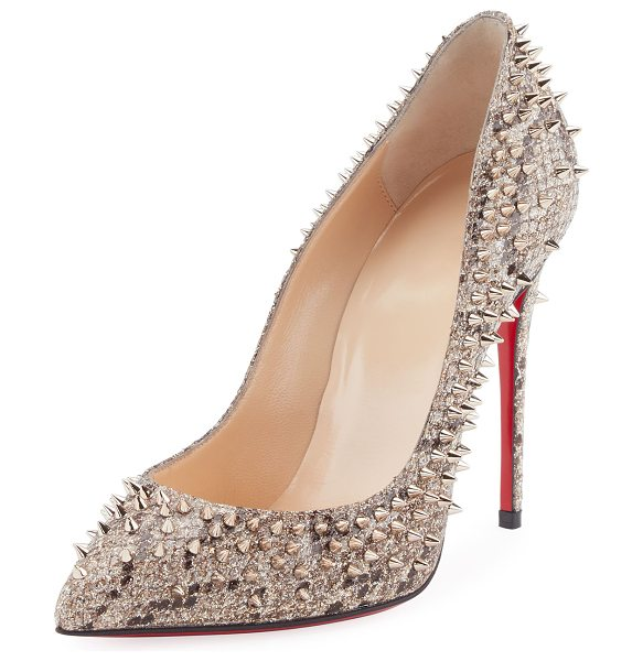 Christian Louboutin Escarpic Spike 100mm Red Sole Pump in brown - Christian Louboutin snake-print glitter fabric pump with...