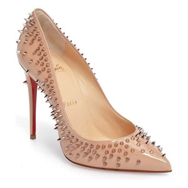 Christian Louboutin escarpic spike pump in nude patent - Tonal spikes add a hint of glam-rock edge to a sleek...