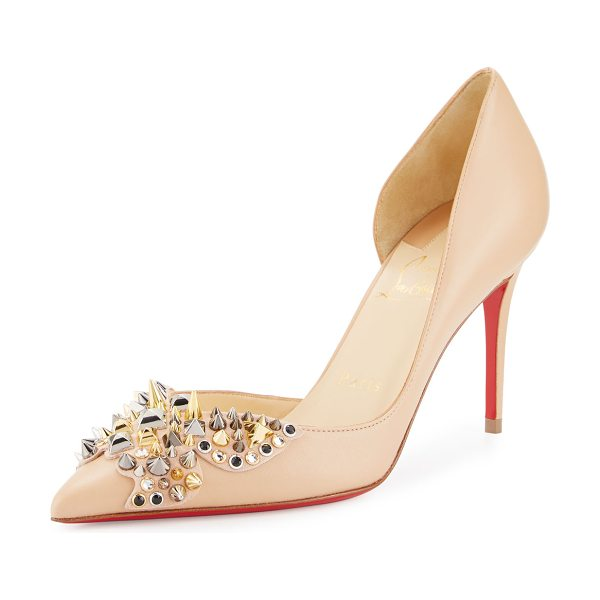 Christian Louboutin Farfa Spikes Half-d'Orsay 85mm Red Sole Pump in nude - Christian Louboutin napa leather pump, decorated with...
