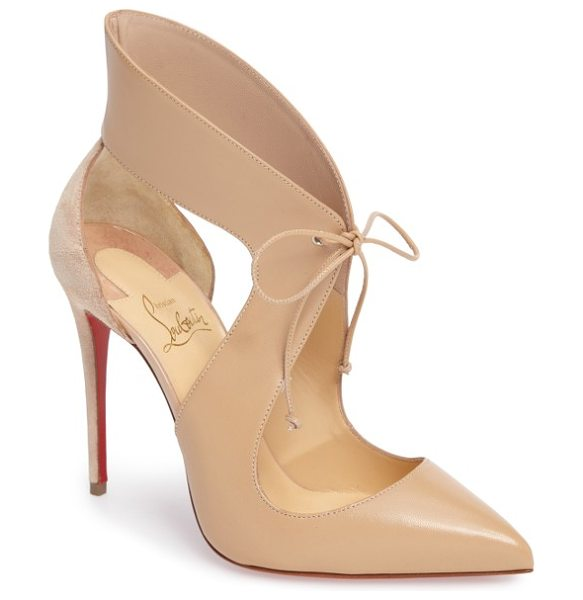 Christian Louboutin ferme rouge pointy toe pump in nude leather - Airy cutouts and a dainty tie closure add impeccable...