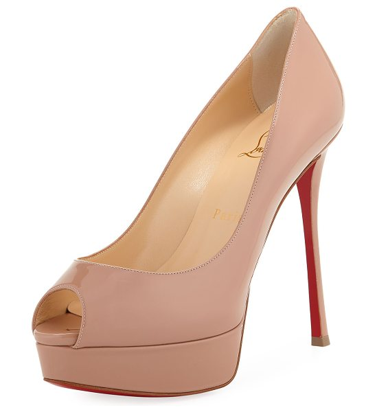 "Christian Louboutin Fetish Peep-Toe Platform Red Sole Pump in beige - Christian Louboutin patent leather pump. 6"" covered..."