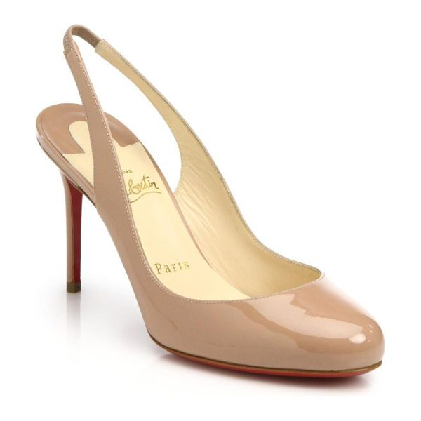 Christian Louboutin fifi patent leather slingbacks in nude - A classic slingback silhouette crafted from...