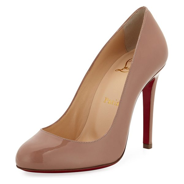 "Christian Louboutin Fifille Patent Red Sole Pump in beige - Christian Louboutin patent leather pump. 4"" covered..."