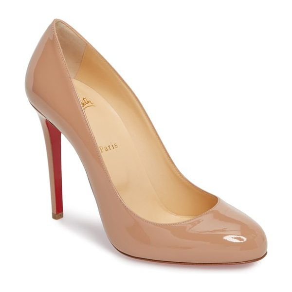 Christian Louboutin fifille pump in beige - Sleek curves define a low-cut round-toe pump lifted by a...