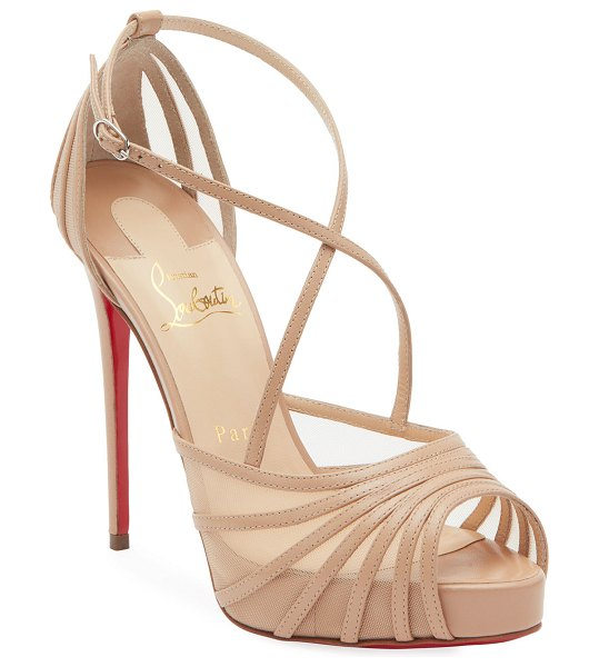 Christian Louboutin Filamenta Strappy Mesh Red Sole Sandals in nude