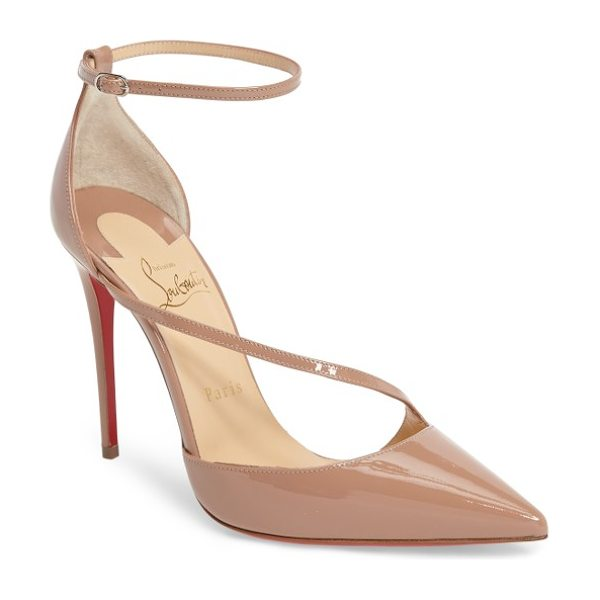 Christian Louboutin fliketta pump in nude patent - A slender band arcs across the vamp of a sultry...