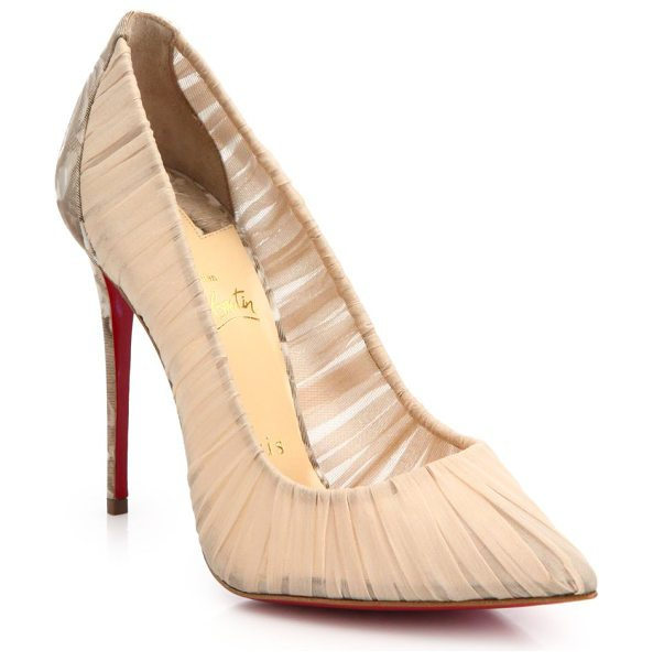 CHRISTIAN LOUBOUTIN Floral chiffon pumps - Sheer chiffon pump with floral detail at...