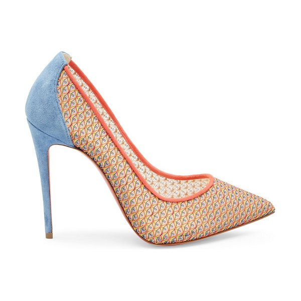 Christian Louboutin follies lace suede pumps in neutral