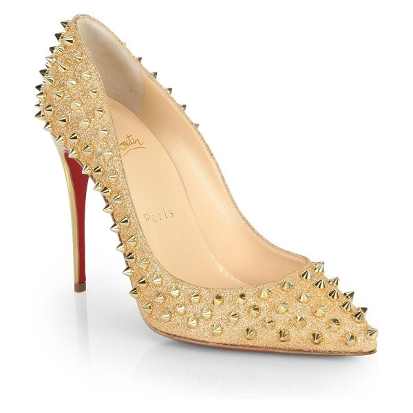 CHRISTIAN LOUBOUTIN Follies spiked glitter pumps in gold - Spiky studs adorn the glitter backdrop of these sculpted...