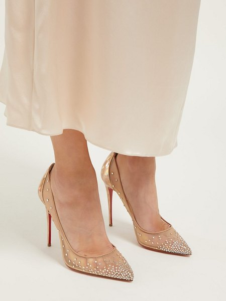 Christian Louboutin follies strass 100 holographic heel mesh pumps in nude gold