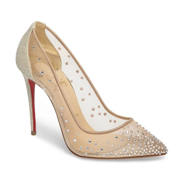 Christian Louboutin follies strass pump in beige - Flecks of twinkling glitter lightly frost a striking...