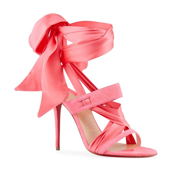Christian Louboutin Foulard Cheville Satin/Suede Wrap Red Sole Sandals in pink