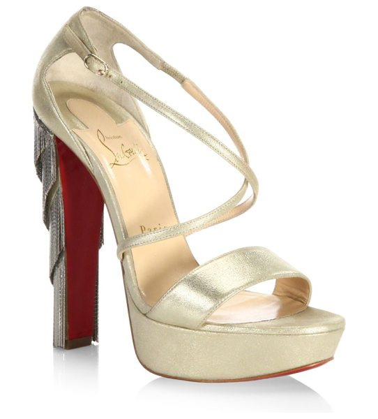 CHRISTIAN LOUBOUTIN fringe blake 140 leather platform sandals - EXCLUSIVELY AT SAKS FIFTH AVENUE. Glam strappy metallic...