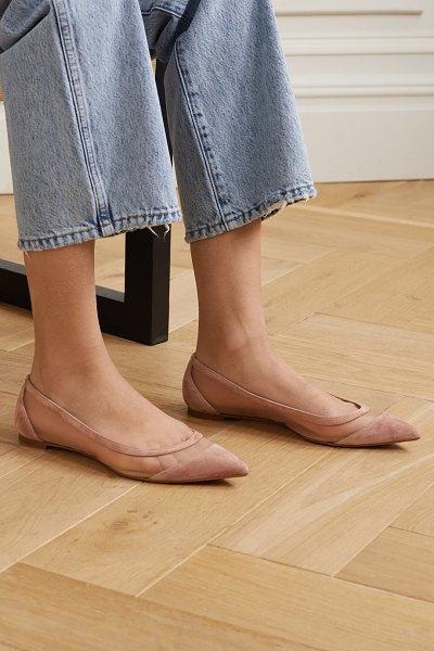 Christian Louboutin galativi suede and mesh point-toe flats in neutral