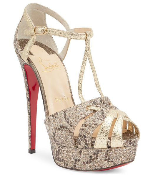 Christian Louboutin glennalta 150 glitter & metallic leather platform sandals in rose - Striking metallic cage sandal with glitter python motif....