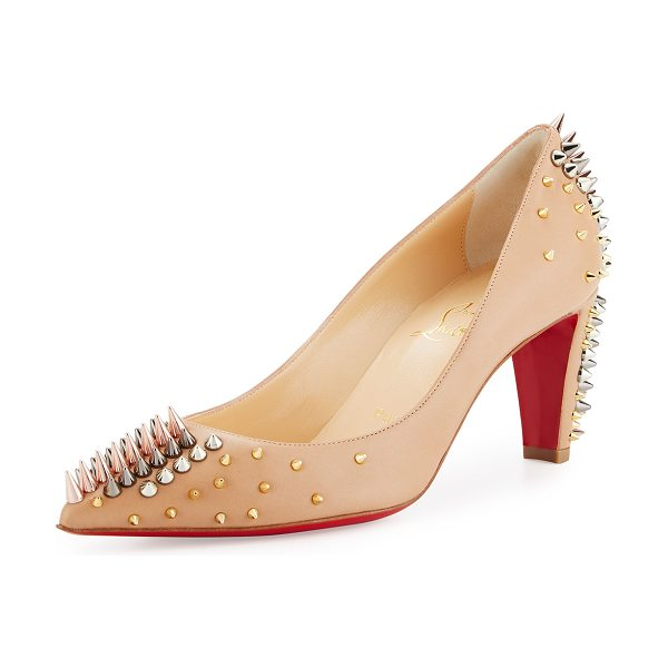 Christian Louboutin Goldopump Spiked Leather Red Sole Pump in nude/multimetal - Christian Louboutin napa leather pump. Mixed-metal...