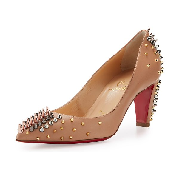 CHRISTIAN LOUBOUTIN Goldopump Spiked Leather Red Sole Pump - Christian Louboutin napa leather pump. Mixed-metal...