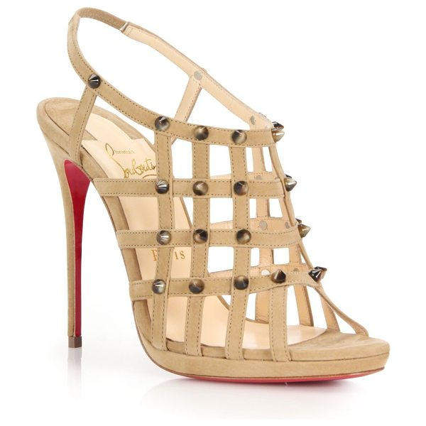 Christian Louboutin Guinievre studded caged suede sandals in beige - Strappy caged suede sandal finished with edgy...