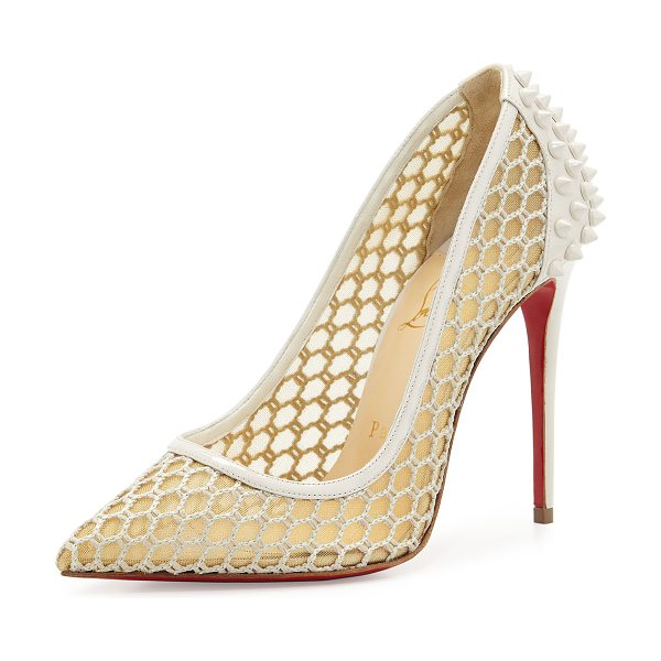 CHRISTIAN LOUBOUTIN Guni Mesh Spike 100mm Red Sole Pump - Christian Louboutin sheer mesh fabric pump with patent...