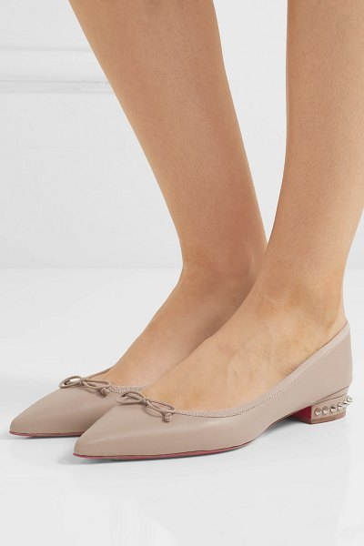 Christian Louboutin hall spiked leather point-toe flats in beige
