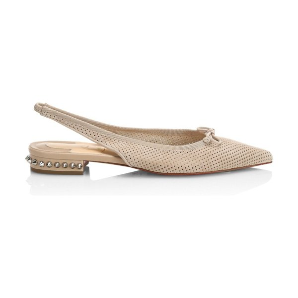 Christian Louboutin hall spiked perforated leather slingback flats in tan