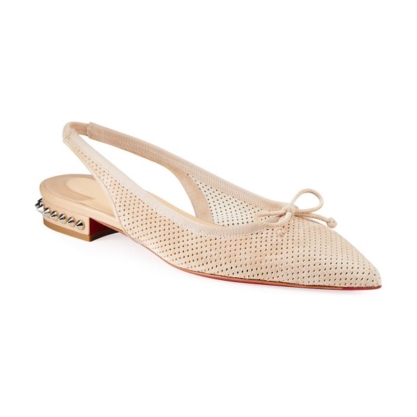 Christian Louboutin Hall Velour Spike Red Sole Slingback Flats in beige