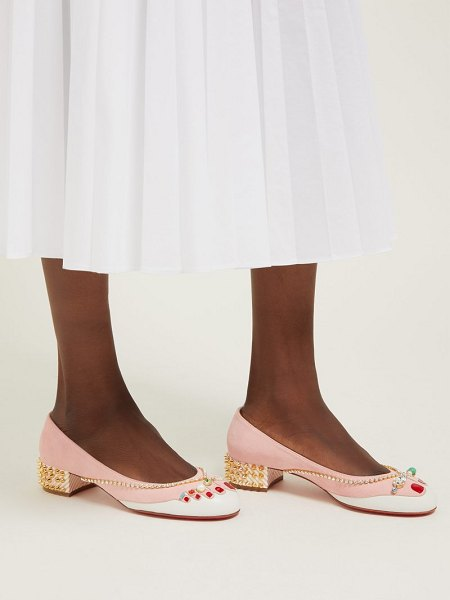 Christian Louboutin hippipump crystal appliqué suede ballet flats in light pink