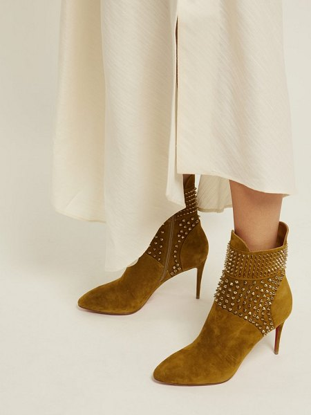 Christian Louboutin hongroise 85 studded suede boots in khaki