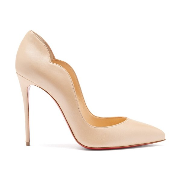 Christian Louboutin hot chick 100 scalloped-edge leather pumps in nude