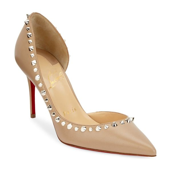 Christian Louboutin irishell 85 nappa leather d'orsay pumps in nude - Smooth leather d'Orsay pump trimmed with spiked studs....