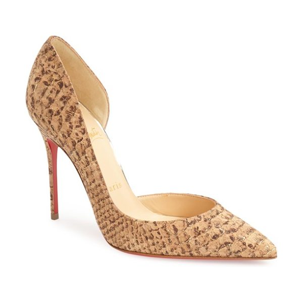 Christian Louboutin iriza dorsay pump in gold - A metallic dusting highlights the snake-embossed cork...