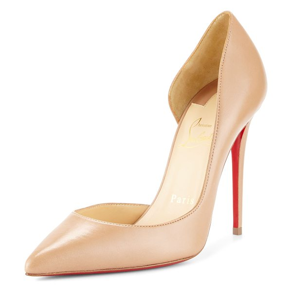 "Christian Louboutin Iriza Half-d'Orsay 100mm Red Sole Pump in nude - Christian Louboutin leather pump. 4"" covered heel...."