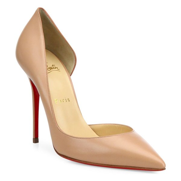 Christian Louboutin iriza 100 point toe pumps in nude - Half-d'Orsay pumps carefully crafted in smooth leather....